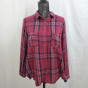 Cotton On Wine Paid Pocket Button Front Top